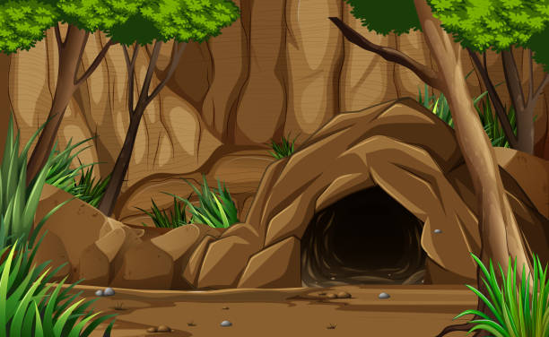stockillustraties, clipart, cartoons en iconen met een donkere rotsachtige grot van buiten - grot
