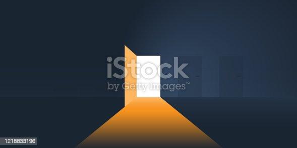istock Dark Room, Light Coming In Through an Open Door 1218833196