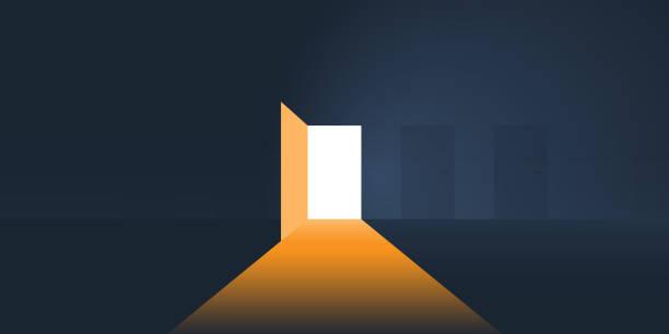 ilustrações, clipart, desenhos animados e ícones de quarto escuro, luz entrando através de uma porta aberta - portal