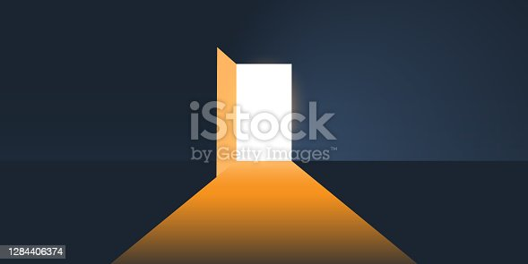 istock Dark Room, Light Coming In Through an Open Door 1284406374