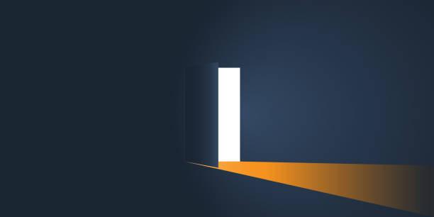 ilustrações, clipart, desenhos animados e ícones de quarto escuro com luz através de uma porta aberta - portal