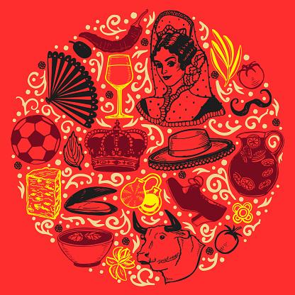 Dark Round Composition with Spanish Symbols in Hand-Drawn Style