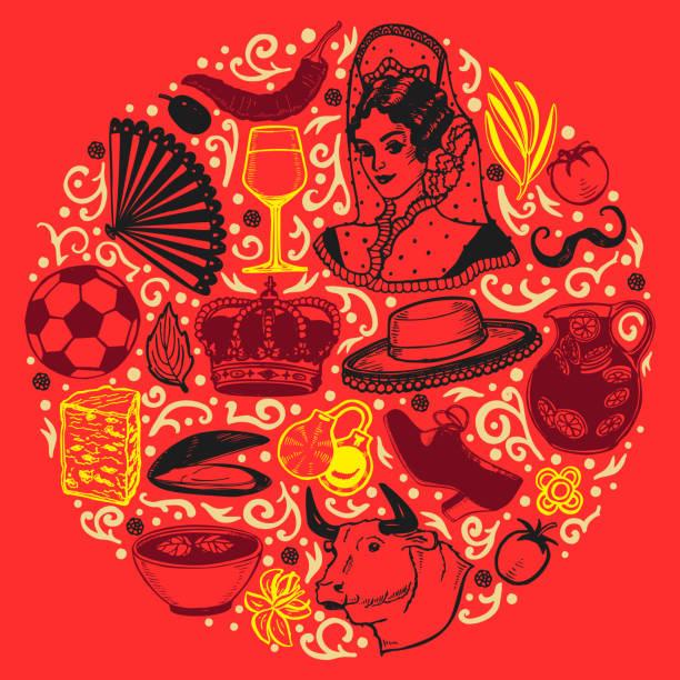 stockillustraties, clipart, cartoons en iconen met donkere ronde samenstelling met spaanse symbolen in stijl handgetekende - castagnetten