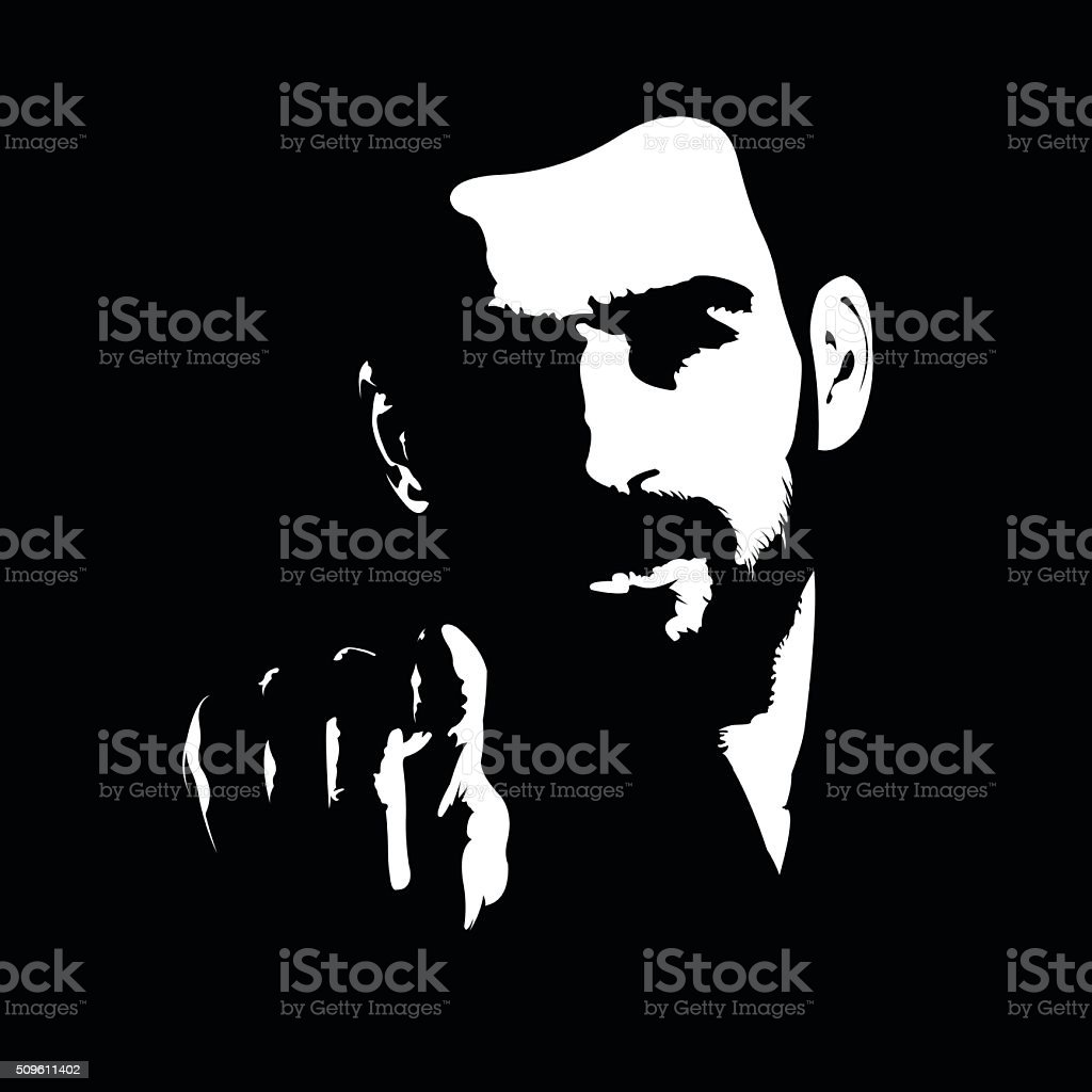 Dark shadow portrait of man pointing finger at camera vector art illustration