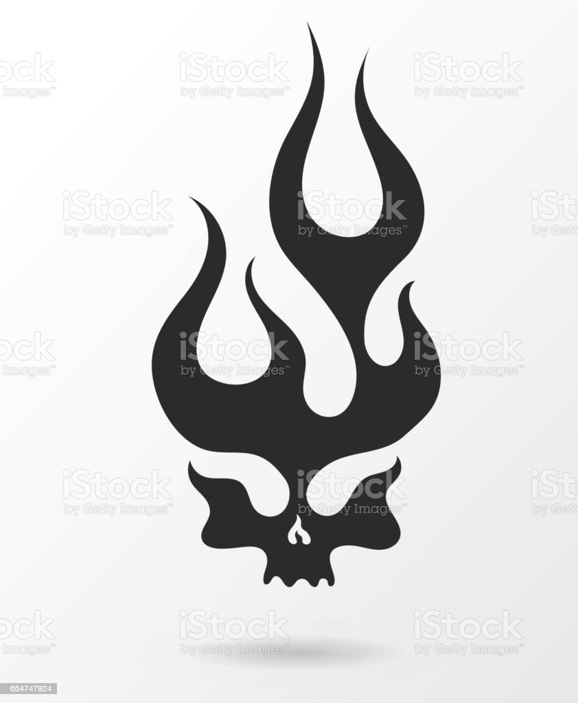 Dark silhouette flaming skull vector art illustration