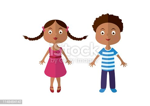 Girl with braids vector. Boy in striped shirt. Cute kids icon. Girl and boy cartoon character. Black kids icon vector. Afro american kids clip art
