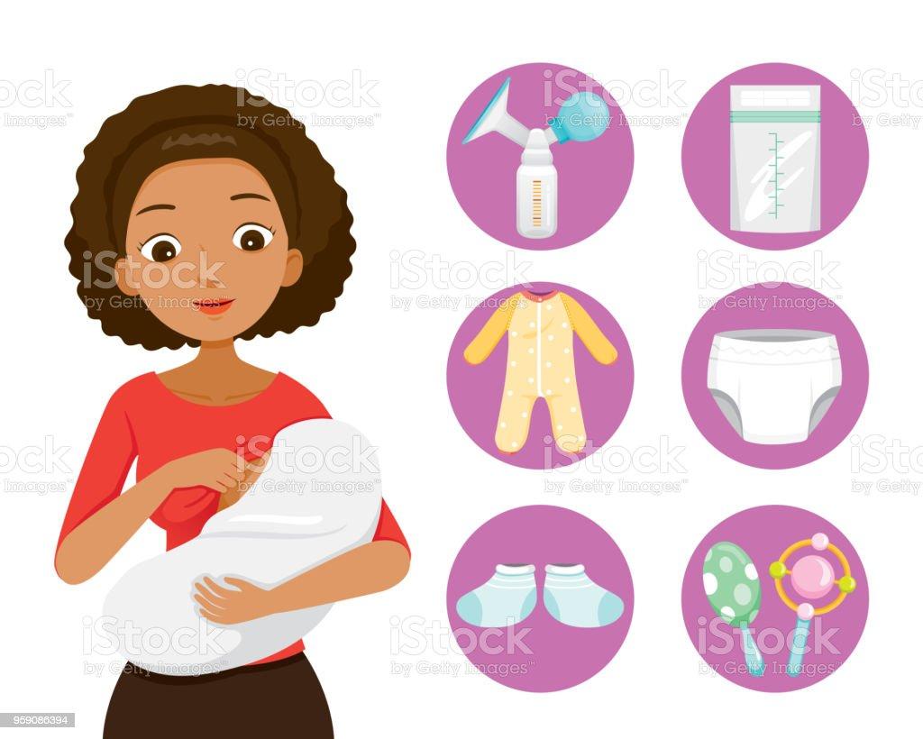 Dark Skin Mother Breastfeeding And Hugging Baby. Baby Icons Set vector art illustration