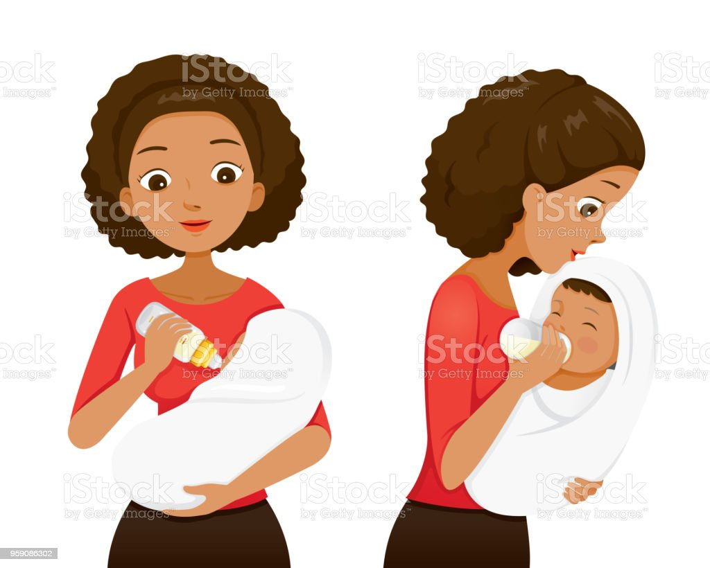 Dark Skin Mother Feeding Baby With Milk In Baby Bottle, Front And Side View