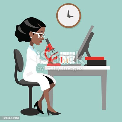 istock Dark skin woman doctor or scientist 686300880