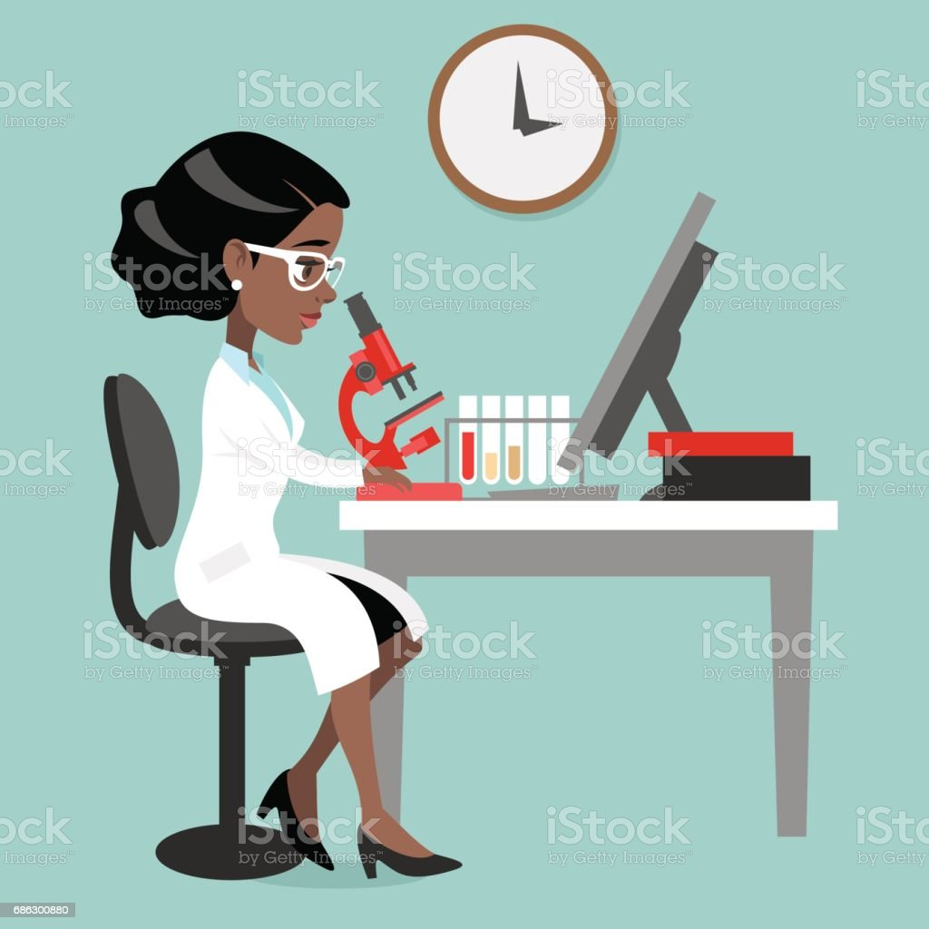 Dark skin woman doctor or scientist vector art illustration
