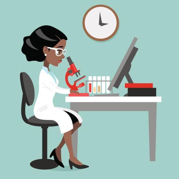 ilustrações de stock, clip art, desenhos animados e ícones de dark skin woman doctor or scientist - scientist