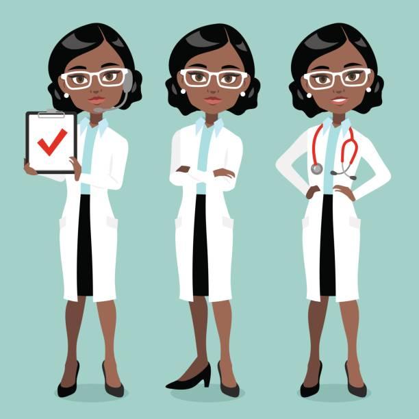 illustrazioni stock, clip art, cartoni animati e icone di tendenza di dark skin woman doctor or scientist - dottoressa