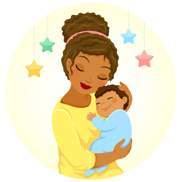 Dark skinned mother and baby Young mother of black ethnicity hugging a smiling baby boy bedroom clipart stock illustrations