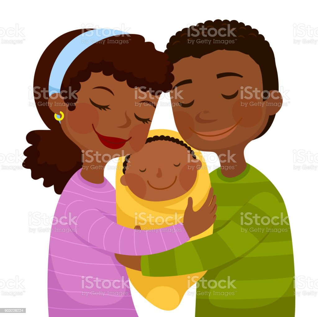 Dark skinned parents with a baby vector art illustration