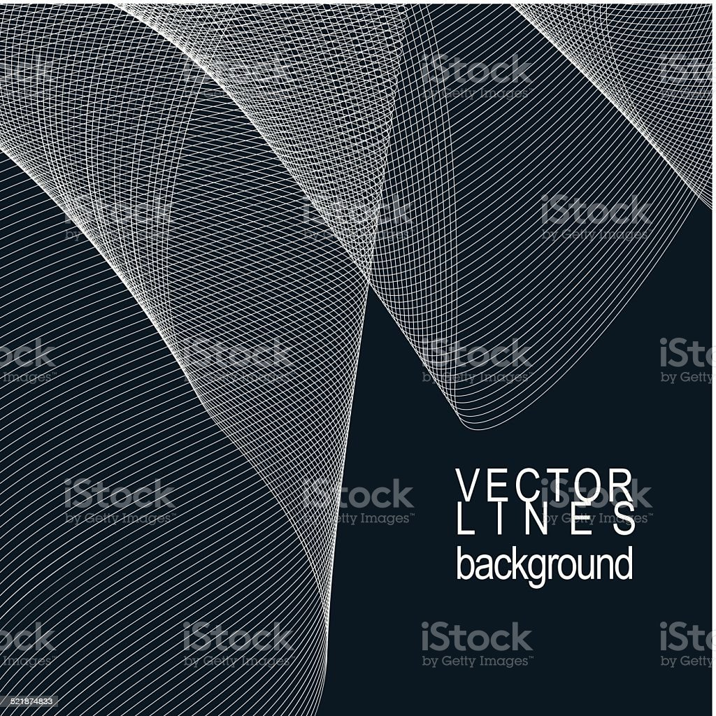 Dark striped decorative wavy template, silky textile curves vector art illustration
