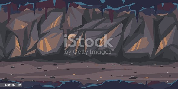 Path is crossing the dark cave game background tilllable horizontally, dark terrible empty place with rock walls in side view, dangerous dungeon illustration