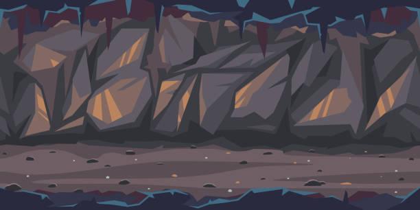 stockillustraties, clipart, cartoons en iconen met donkere vreselijke grot spel illustratie achtergrond - grot