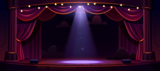 Dark theater stage with red curtains and spotlight