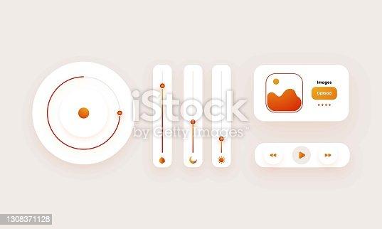 istock Dark theme Eye catching creative music player UI design Illustration 1308371128