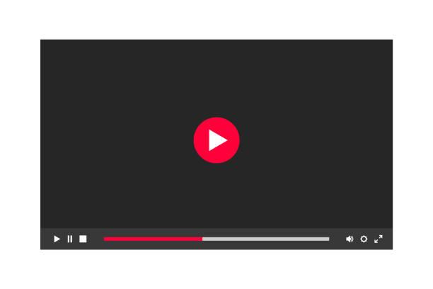 illustrazioni stock, clip art, cartoni animati e icone di tendenza di dark theme of video player window in a night mode. - cinema