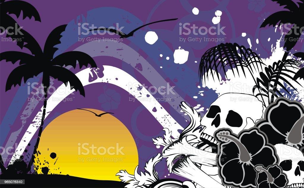 dark tropic summer hawaiian skull background royalty-free dark tropic summer hawaiian skull background stock vector art & more images of abstract