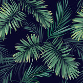 Dark tropical background with jungle plants. Seamless tropical pattern with green phoenix palm leaves. Vector illustration.