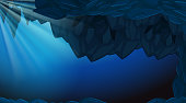 A dark underwater cave backgroubd illustration
