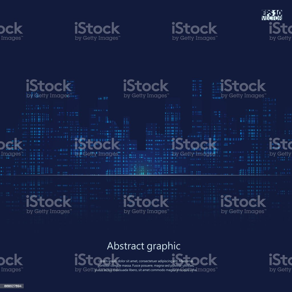 Dark urban scape. Night city skyline abstract background. Modern night city landscape. Eps10 Vector illustration vector art illustration