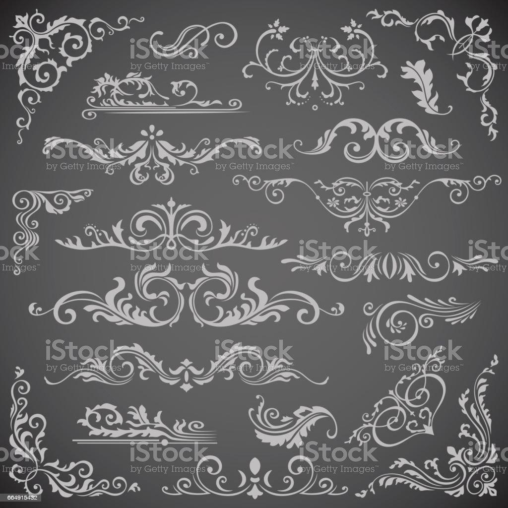 Dark Vector set of Swirl Elements for Frame Design. Calligraphic page decoration, Labels, banners, antique and baroque Frames floral ornaments. Wedding dark vector set of swirl elements for frame design calligraphic page decoration labels banners antique and baroque frames floral ornaments wedding - immagini vettoriali stock e altre immagini di ambiente royalty-free