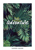 Dark tropical design with green jungle palm leaves and lettering.Vector illustration.