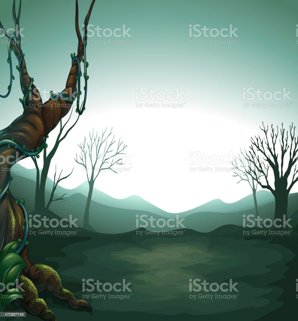 Dark view of the forest royalty-free stock vector art