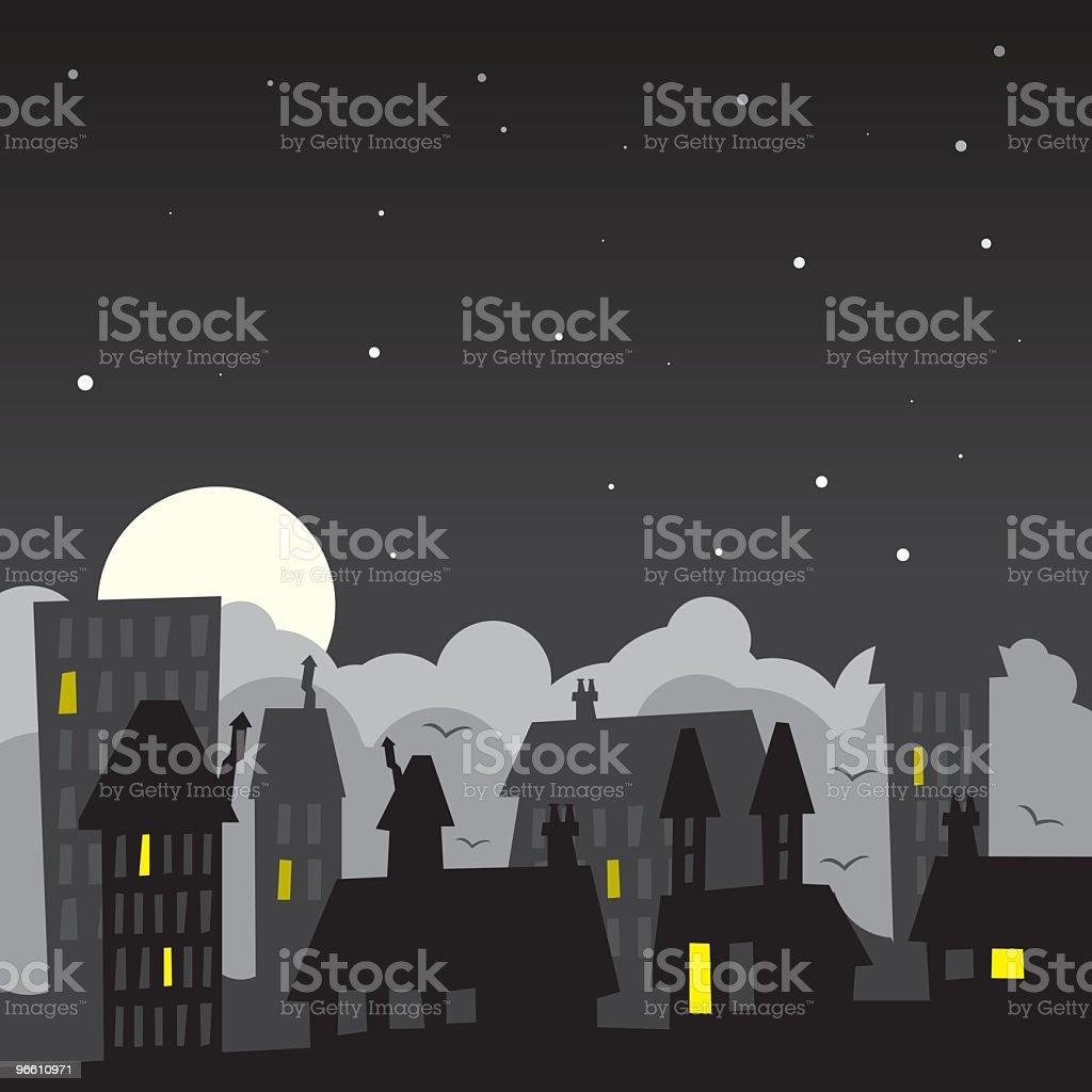 Темный-Виллидж - Векторная графика Архитектура роялти-фри