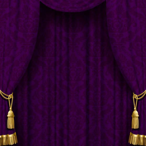 dunkel violetten vorhang mit goldenen quasten - plüsch stock-grafiken, -clipart, -cartoons und -symbole