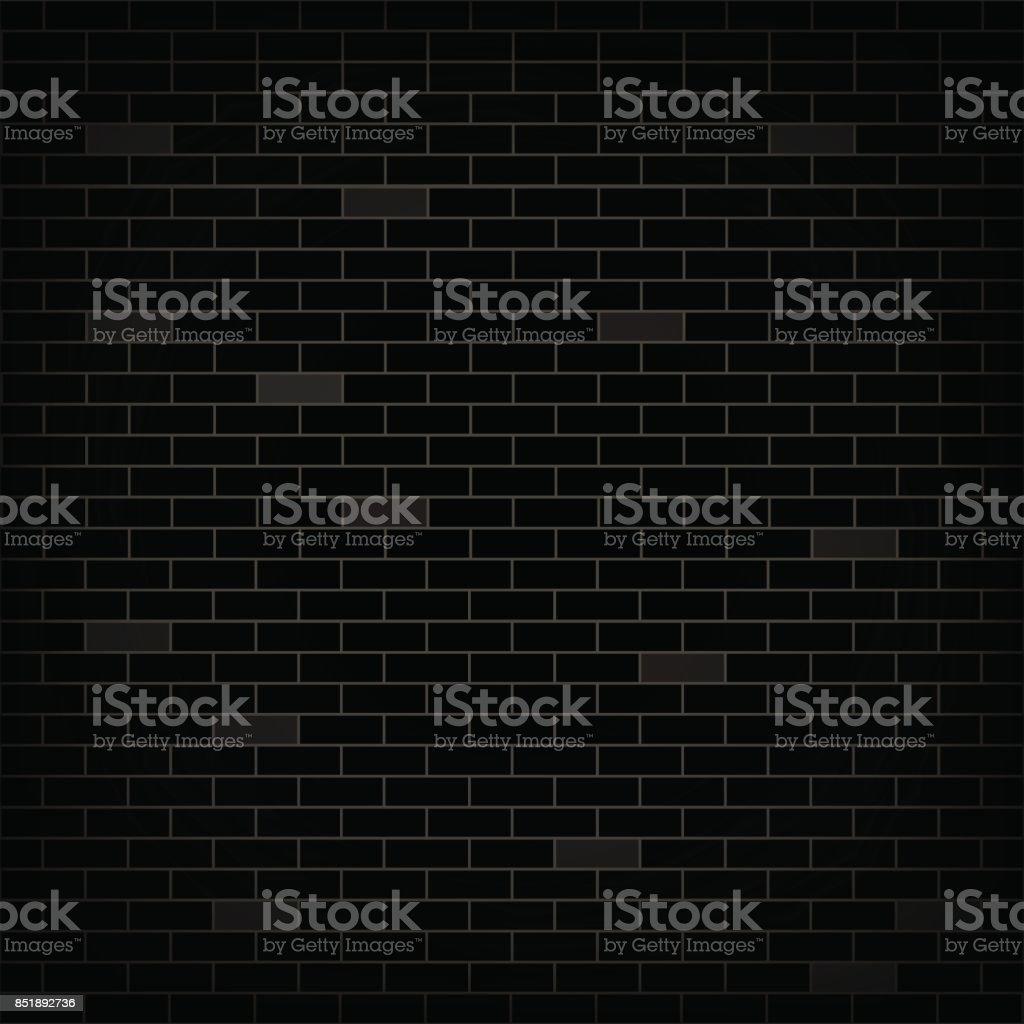 Dark wall black bricks. Grunge stonewall. Vector background. vector art illustration