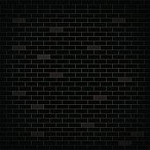 Dark wall black bricks. Grunge stonewall. Vector background.