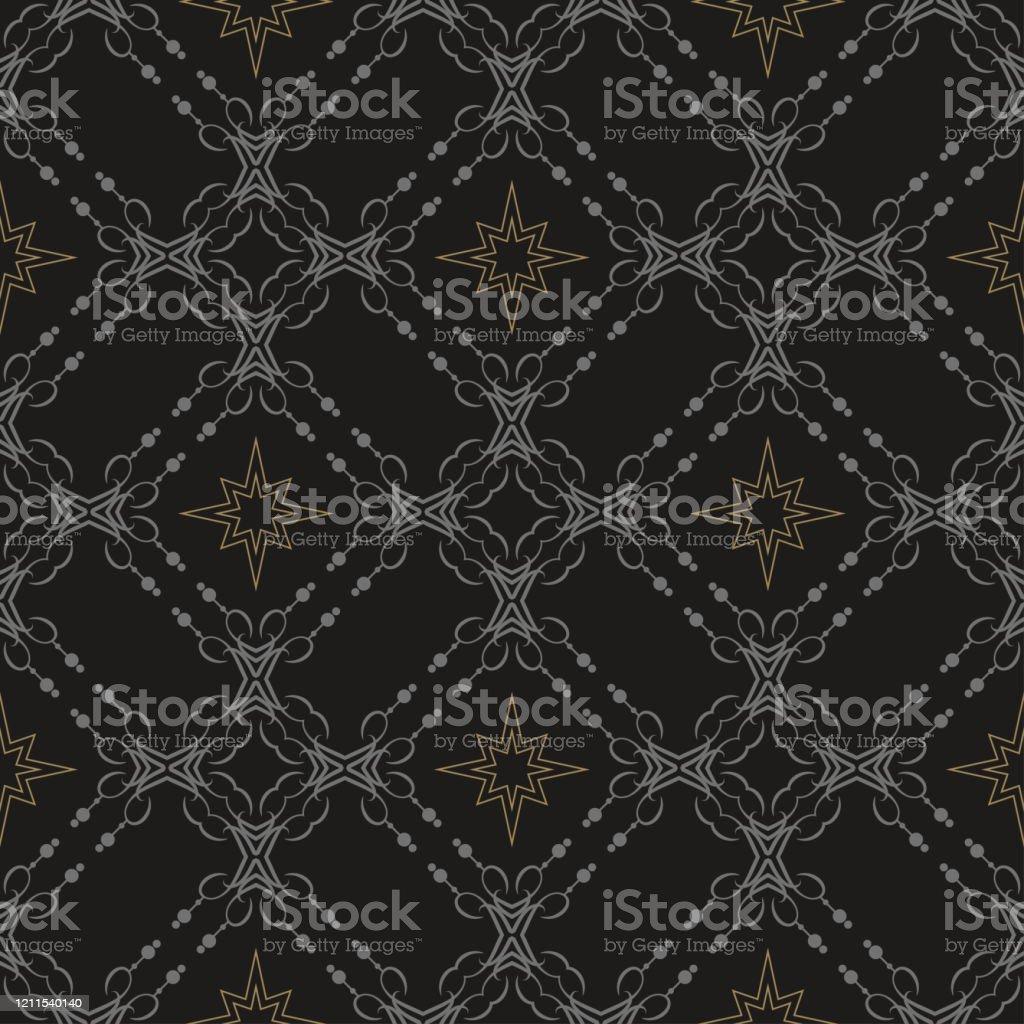 黒の背景ベクトル上の幾何学模様で豊かに装飾された暗い壁紙