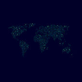 World map on dark background made of 0s and 1s