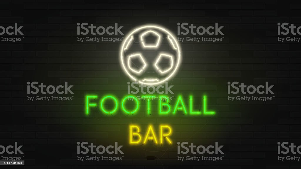 Dark Web Banner With Neon Sign Of Football Bar Stock Vector Art
