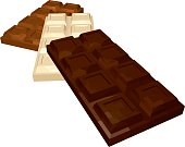 Three Bars of Chocolate: Dark White and Milk Isolated on White Background. Vector 3D Realistic Illustration.
