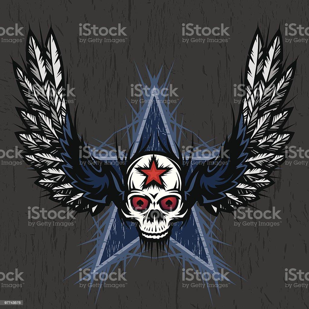 Dark Winged Skull royalty-free stock vector art