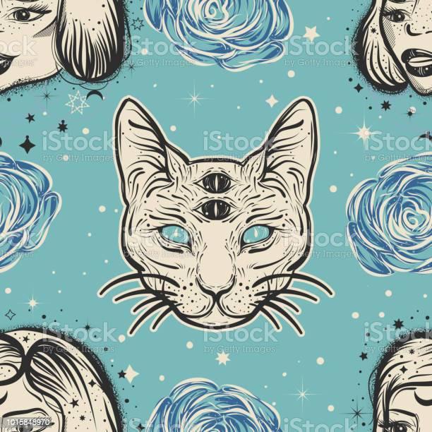 Dark witchy seamless pattern in tatto art style with four eyed lady vector id1015848970?b=1&k=6&m=1015848970&s=612x612&h=er ua27ixcqpixcsikpkkejupddyvkr8kq49insz ye=
