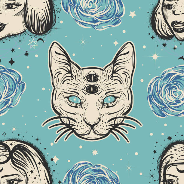 Dark witchy seamless pattern in tatto art style with four eyed lady, cat and roses vector art illustration