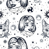 Dark witchy seamless pattern in tattoo art style with four eyed lady and cat