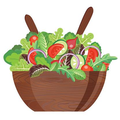 Dark Wooden Salad Bowl With Utensils