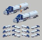 Dark-blue heavy truck with silver tank-trailer