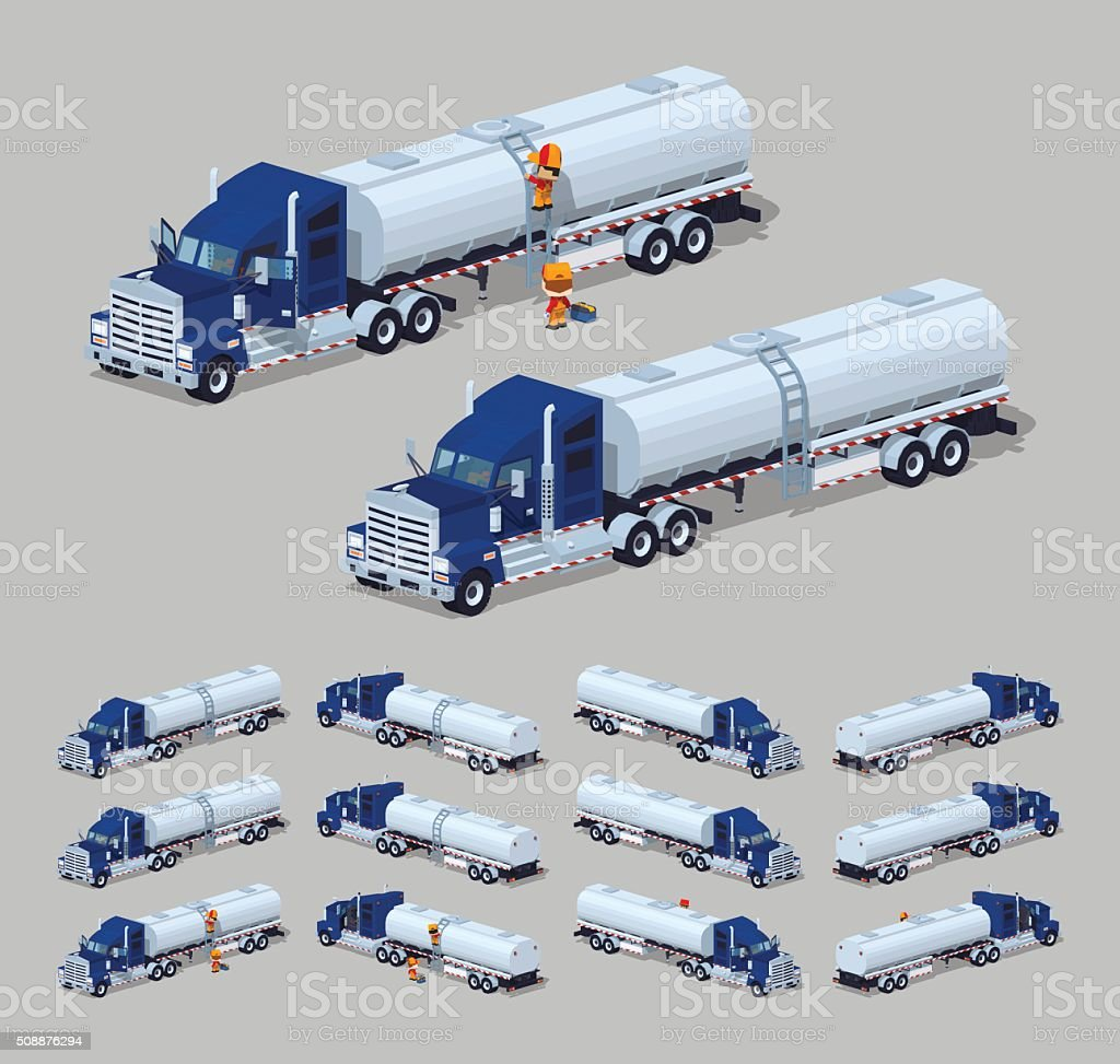 Dark-blue heavy truck with silver tank-trailer vector art illustration