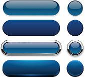 Set of blank dark-blue buttons for website or app. Vector eps10.