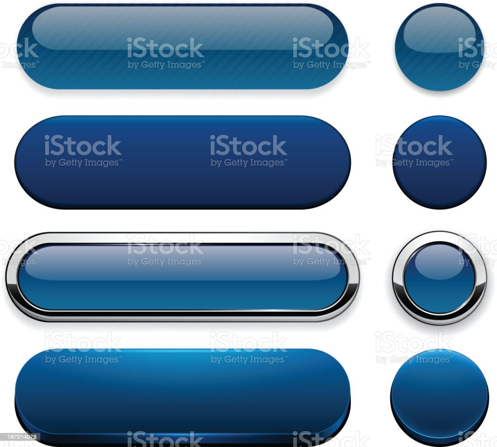 Dark-blue high-detailed modern web buttons. vector art illustration