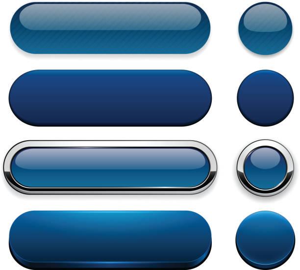 dark-blue high-detailed modern web buttons. - dark blue stock illustrations