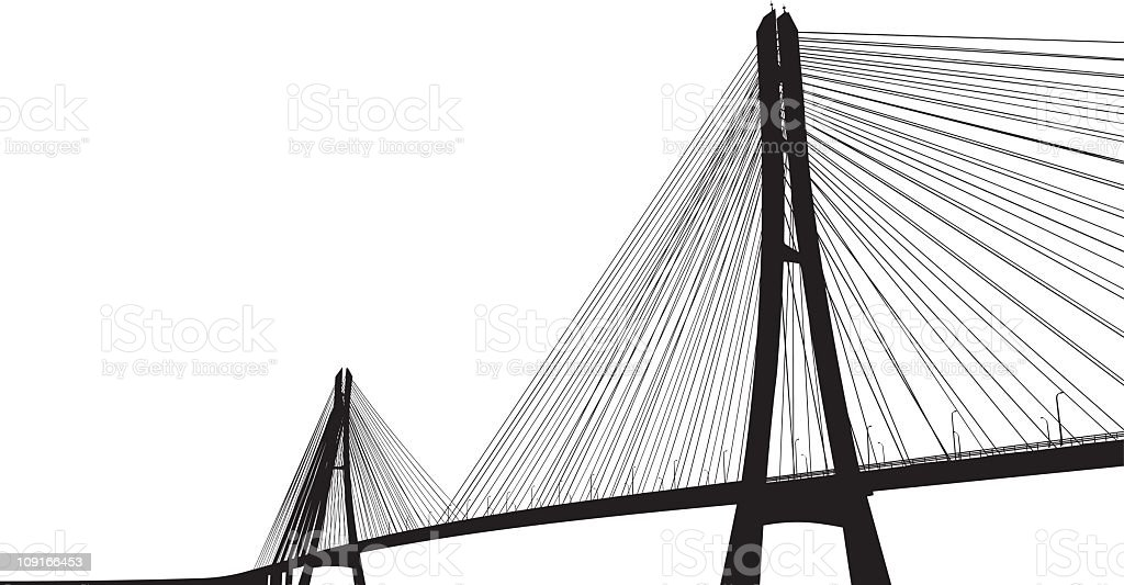 Darkened bridge with many cables contrasts with white sky